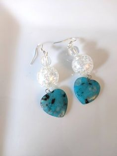 Blue and white heart shape stone earring, Cute, Simple and elegant. Handmade, natural stone by BemineTreasures on Etsy Stone Earrings, Jewellery Earrings, Drop Earrings, Girl Blog, Earrings Handmade, Natural Stones, Heart Shapes, Blue And White, Black