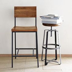 west elm rustic bar stool & counter stool. rustic yet refined. warm color wood with raw steel legs for a touch of industrial.