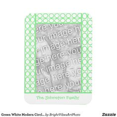 Green White Modern Circles Lines Pattern Magnet - home gifts ideas decor special unique custom individual customized individualized Green Gifts, Photo Magnets, Line Patterns, Home Gifts, Ring Designs, Green Colors, Circles, Create Your Own, Stationery