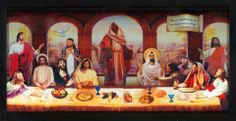 """A LORD'S SUPPER Based on 1 Corinthians 10:17.  This is actually a scanned image of the original 3D collage created by Pastor Greg for our """"ART OFFERING: Visual Meets Spiritual"""" Exhibit in October, 2010.  The artwork depicts the diverse oneness and unity of the church today by using multiple images of Jesus at the iconic Last Supper.  The scroll in the top, right corner reads: """"For we, though many, are one bread and one body."""" --- 1 Corinthians 10:17"""