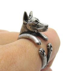 Realistic Doberman Pinscher Dog Shaped Animal Wrap Ring in Silver | Sizes 5 to 9