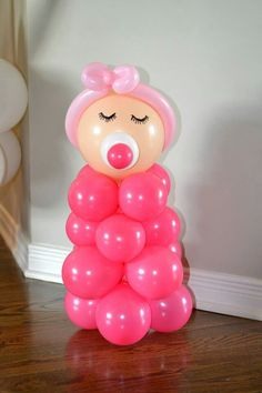 Sweet baby shower decoration idea with balloons. Can change the colors to create different baby looks.