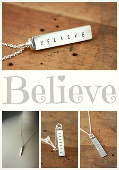 Believe swivel necklace. Inspirational sterling silver jewelry.