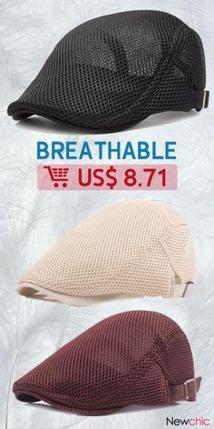 1d418eaa2fc  46% off Men Summer Mesh Beret Cap Breathable Visor Flat Hat Adjustable  Solid