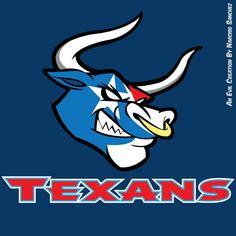 Houston Texans logo by ~NSSanchez on deviantART Houston Texans Football, Dallas Cowboys Logo, Football Signs, Houston Astros, Funny Football Memes, Bulls On Parade, Texas Tattoos, Bull Logo, H Town