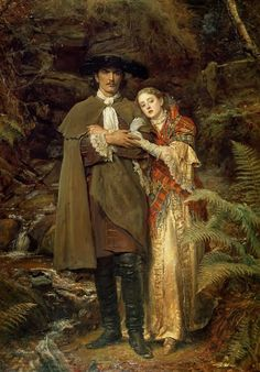 The Bride of Lammermoor by English Painter Sir John Everett Millais 1829 - 1896 Dante Gabriel Rossetti, John Everett Millais, Romantic Paintings, Beautiful Paintings, Pre Raphaelite Paintings, Pre Raphaelite Brotherhood, Art Ancien, Atelier D Art, Victorian Art