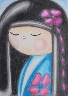 ~Japan~ via Etsy. Bugs Drawing, Doll Drawing, Japan Time, Artist Pencils, Kokeshi Dolls, Artist Trading Cards, Affordable Art, Miniature Dolls, Contemporary Artists