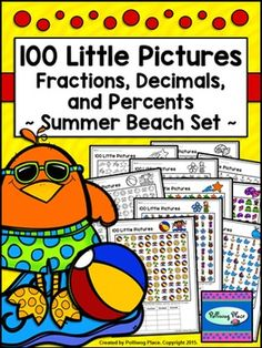 Fractions Decimals and Percents - 100 Little Pictures - Summer Beach Set ($)