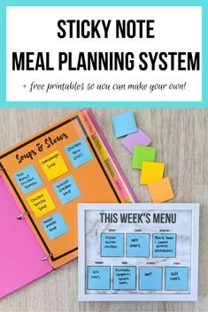 Sticky Note Meal Planning Binder – Let's Live and Learn Meal Planning Binder, Meal Planning Board, Weekly Menu Boards, Life Organization, Organizing, Menu Planners, Thing 1, Printable Planner, Free Printables