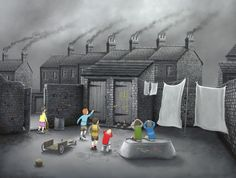 Signed Limited Edition Print Now He's Done It (Canvas) by the artist Leigh Lambert Oil Paint On Wood, Painting On Wood, Painting & Drawing, Leigh Lambert, Naive Art, Children's Book Illustration, Urban Landscape, Great Pictures, Artsy Fartsy