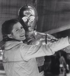 Carrie Fisher (Princess Leia) and Anthony Daniels (C-3PO)