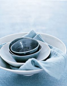Beautiful, simplicity of blue and white pottery by Ditte Isager.