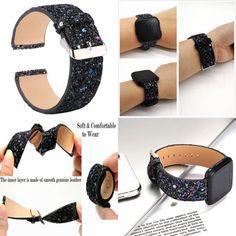 BLACK-GLITTER-BLING-Replacement-Bands-Strap-Bracelet-Band-Loop-for-FITBIT-VERSA Apple Watch Accessories, Black Glitter, Fitness Tracker, Miu Miu Ballet Flats, Smart Watch, Apple Iphone, Fitbit, Bands, Bling