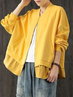 : top quality yellow short outwear plus size coats fall outwear patchwork Cardigan Fashion, Fashion Coat, Women's Fashion, Plus Size Down Coats, Autumn Fashion Women Fall Outfits, Fashion Spring, Unshrink Clothes, Yellow Coat, Long Sweater Dress