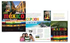 Mexico Travel Brochure Design Template by StockLayouts Brochure Sample, Brochure Layout, Sample Resume, Brochure Ideas, Travel Brochure Design, Travel Brochure Template, Chichen Itza Cancun, Merida, Travel Tips With Baby