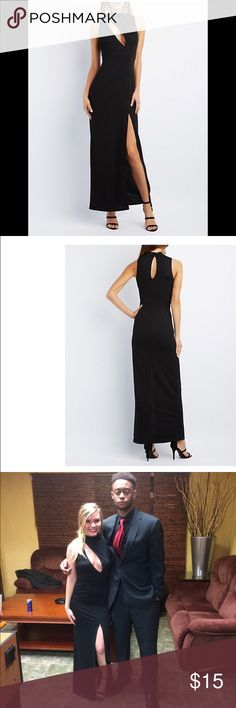 Black evening gown Classy long black, form fitting dress. No alterations! Only worn once, I posted a picture of myself wearing it! I'm 5 ft tall and it was the perfect length with 3 inch heels on! Charlotte Russe Dresses Asymmetrical