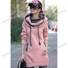 Street Fashion Thicken Casual Long Sleeves Fleece Hoodie For Women