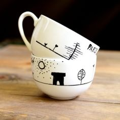 How to make your own dishwasher safe drawings onto pottery.