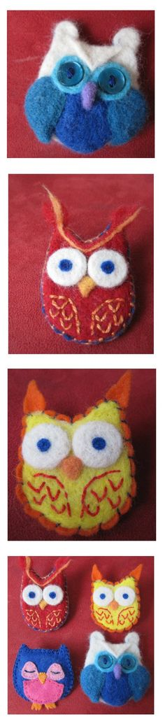 Needle felted owls I made for the girls