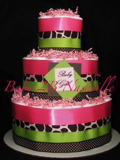 Diaper Cake for Girls in Pink and Green Giraffe by Baby2BNashville