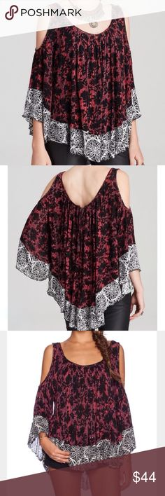 """NWOT Free People """"Chloe"""" Knit Top Cutout shoulders reveal a peek of the skin on a relaxed Free People top. Lively patterns compliment the draped cut, and a flattering curve shapes the hem. Tie back key hole. 3/4 sleeves. Fabric: fine knit. 95% rayon 5% spandex. ✨THIS ITEM IS NWOT NEVER WORN! IN PERFECT CONDITION! ALL PURCHASES COME WITH LOVELY BONUS GIFTS✨ Free People Tops Tees - Long Sleeve"""