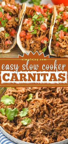 There's nothing like coming home to this crockpot meal! This hearty slow cooker recipe is perfect for busy weeknights. In just a few steps, you can have the best-tasting comfort food. Enjoy these pork carnitas as tacos or burritos for dinner! Slow Cooker Recipes, Crockpot Recipes, Slow Cooker Carnitas, Tacos, Pork, Beef, Meals, Dinner, Burritos