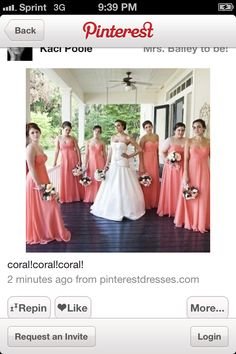Coral wedding themed dresses