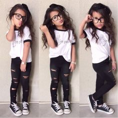Aliexpress.com : Buy Newest Hot Baby Toddler Kids Baby Girls Outfits Clothes Short Sleeve T shirt Tops+Ripped Pants 2PCS Set White Black Color from Reliable Clothing Sets suppliers on Fashionable Children Garments