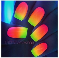 glow-in-the-dark rainbow neon nails! glow-in-the-dark rainbow neon nails! Rainbow Nail Art Designs, Cute Nail Designs, Dark Nail Polish, Dark Nails, Cute Nails, Pretty Nails, My Nails, Uñas Color Neon, Neon Nail Art
