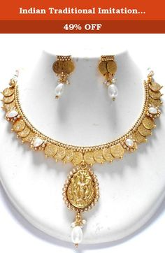 Indian Traditional Imitation Laxshmi Har / Temple Coin Jewelry / AZINLH101-GPE. Temple Jewelry / Coin Jewelry / Kolhapuri Thassa is new special type of Indian Traditional jewellery with a long lasting polish. Elegant set of high quality copper based, light weight coin jewellery, This coin jewelry set is available with matching Coin Jhumki pair of earrings. The Necklace set and the earrings both are designed beautifully to its perfection. stone work. This Traditional Necklace set is also...