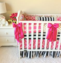 Ritzy Baby Designs, LLC - Gold, Hot Pink, and Striped Crib Bedding, $543.00 (http://www.ritzybaby.com/gold-hot-pink-and-striped-crib-bedding/)