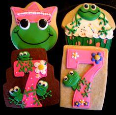 More Frog Birthday Cookies Frog Cookies, Crazy Cookies, Cookies For Kids, Flower Cookies, Iced Cookies, Cut Out Cookies, Cute Cookies, Sugar Cookies, Fancy Biscuit