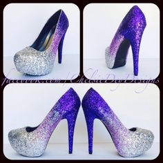 Silver Purple Ombre Glitter High Heels - pinned by pin4etsy.com