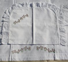 Vintage Baby Cradle Sheet And Sham Set Embroidered Brown Bunny Rabbits