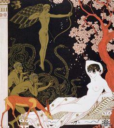 """illustration française : Georges Barbier, """"personnages de comédie"""", 1922, style…"""