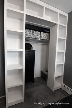 Created bookshelves around an existing closet -- good idea.