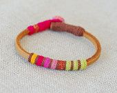 Items similar to Leather & crochet cotton striped friendship bracelet on Etsy