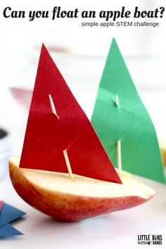 Apple boats and floating apple science activity. An apple Mayflower? This could be repurposed as a Thanksgiving activity for STEM Stem Science, Preschool Science, Science Experiments Kids, Science For Kids, Life Science, Easy Science, Elementary Science, Science Fair, Preschool Ideas