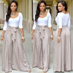 White Round Neck 3/4 Sleeve Top And Grey Loose Mid-rise Long Pant
