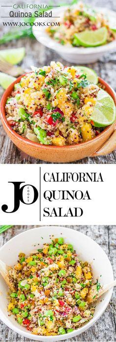 Quinoa Salad - a Whole Foods Market copycat recipe, full of delicious ingredients and super good for you.California Quinoa Salad - a Whole Foods Market copycat recipe, full of delicious ingredients and super good for you. Healthy Cooking, Healthy Eating, Cooking Recipes, Clean Eating, Whole Food Recipes, Dinner Recipes, Quinoa Dishes, Quinoa Salat, Vegetarian Recipes