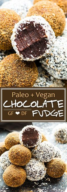 Paleo Chocolate Fudge Truffles are made with coconut milk and almond butter for a super creamy and ultra-fudgy grain-free, gluten-free, and vegan dessert recipe! A healthy fudge recipe that is great for an afternoon snack or kid-friendly dessert. Brownie Desserts, Oreo Dessert, Mini Desserts, Coconut Dessert, Coconut Milk, Healthy Vegan Dessert, Healthy Fudge, Cake Vegan, Vegan Dessert Recipes