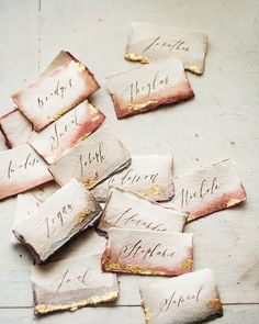 Dip dyed, gold foil, handmade paper name cards...it's the little things.