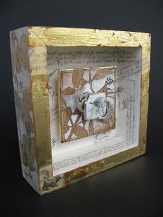 Abstract floral box framed 3D mixed media assemblage stitched collage and dimentional elements Unique art