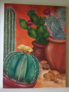 Cactus painting- oil on canvas - PaintinG Cactus Drawing, Cactus Painting, Cactus Art, Cactus Flower, Cactus Plants, Acrylic Art, Acrylic Painting Canvas, Oil On Canvas, Watercolor Paintings