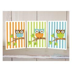 Striped Owl Nursery Art  Prints  8x10  Inches by retroragamuffins, $25.00