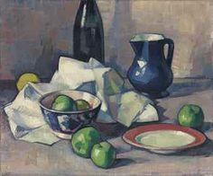 Black Bottle, Napkin and Green Apples / Samuel John Peploe, R.S.A. / c. 1916 / oil on canvas