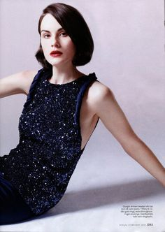 Michelle Dockery and Giorgio Armani Spring 2013 RTW Beaded ...