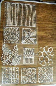 handmade glue stencils - Google Search: Si potrebbe farli anche con la penna 3d