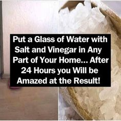 Put a Glass of Water with Salt and Vinegar in Any Part of Your Home… After 24 Hours you Will be Amazed at the Result! beauty diy diy ideas health healthy living remedies remedy life hacks healthy lifestyle beauty tips apple cider vinegar good to know Diy Cleaning Products, Cleaning Solutions, Cleaning Hacks, Diy Hacks, Cleaning Mold, Cleaning Spray, Bathroom Cleaning, Grand Menage, Just In Case