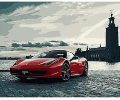 Luxury red car - DIY Paint By Numbers Kits for Adults